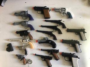 LOT 17 VINTAGE CAP GUNS Hong Kong & Zee Toys