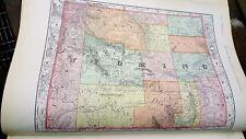 Vintage 1896 ~ Wyoming ~ Map Old Antique Original 14x21 World Atlas Map