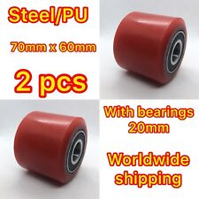 2pcs of PU 70x60 Pallet Truck Load Roller Wheel With Bearings