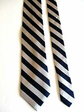 "PAUL FREDRICK - NAVY & SILVER STRIPED - SILK NECKTIE - 58""LONG 3 1/2""WIDE"