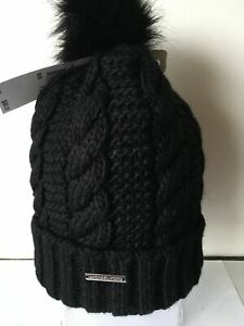 NWT $48 MICHAEL KORS CABLE KNIT POM BEANIE HAT BLACK  ONE SIZE