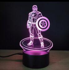 3D Night Light 7 Colors Change LED lamp Averangers Marvel Capitan America