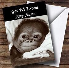 Poorly Monkey Personalised Get Well Soon Greetings Card