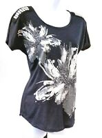 Daytrip Womens Size S Gray Embellished Sequin Short Sleeve T Shirt Top