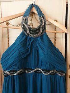 Gorgeous Ice Blossom Evening Prom Special Occasion Dress Teal Size UK 18
