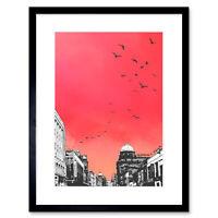 Rooftop Birds Glasgow Framed Wall Art Print 12x16 Inch