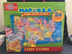 TS Shure Jumbo Floor Puzzle Map of The U.S.A. Giant Puzzle 24 Pc. 3' x 2 ' D10