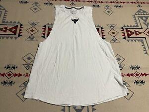 Under Armour Project Rock Charged Cotton Tank Top Shirt Tan Men's XL D8