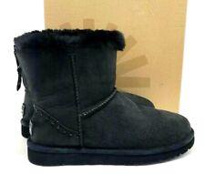 UGG Boots Classic Mini Zip Rock Studs Dark Gray Suede Leather Sheepskin US 10