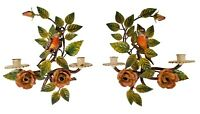 Vintage Italian Painted Tole Flowers Leafs Branches Bird Candle Sconces - A Pair