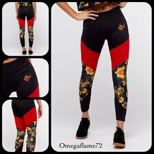 Nike Women's NSW Essential Floral Leggings, 921644-010 ,Sz SMALL, Black & Red