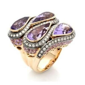 Huge Amethyst Pear Ring Round Halo Fine 14k Yellow Gold over 925 Sterling Silver