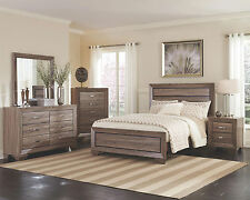 GABRIEL - 5pcs Modern Light Brown King Size Low Panel Bedroom Set Furniture NEW