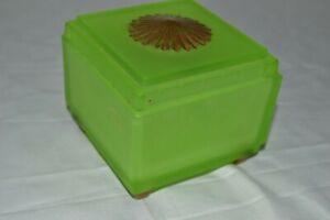 Antique Vtg 1920s TAUSSAUNT Green Satin URANIUM GLASS Frosted POWDER JAR w/LID