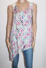O'glam Brand Beige Multi Print Sleeveless Tunic Top Size M BNWT #SW18
