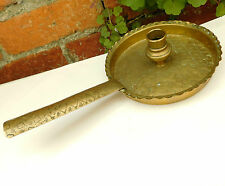 Antique vintage brass chamber stick Frying pan style old candle holder Patterned