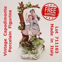 Vintage CAPODIMONTE Pre 1890 Boy with Girl on swing PORCELAIN FIGURINE - 711163