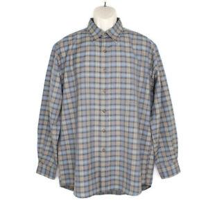 Pendleton Men's Sir Pendleton 100% Wool Long Sleeve Shirt Blue Plaid Large