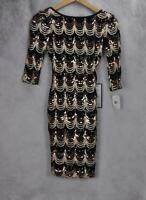 Crystal Doll Womens Sequined Low Back 3/4 Sleeve Pencil Dress Size XS Black Gold