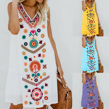 Women Boho Floral Vest Mini Dress Sleeveless Beach Tunic Top Loose Sundress