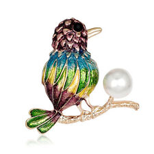 Fashion Cute Gold Plated Pearl Enamel Colorful Bird Brooch Pin For Women Jewelry