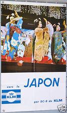 AFFICHE ANCIENNE  KLM VERS LE JAPON PAR DC-8 VINTAGE POSTER