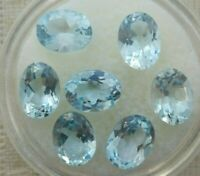 Lot of 7 Oval 10.30ctw Loose Sky Blue Topaz Gemstones 8x6 Natural
