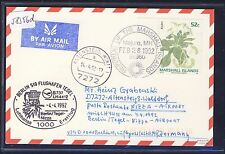 58356d) LH FF Berlin - Nizza Nice France 4.4.92, Karte ab Marshall Islands