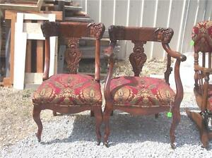 His and Hers Mahogany Carved Pair of Chairs Red / Gold Victorian Print Chenille