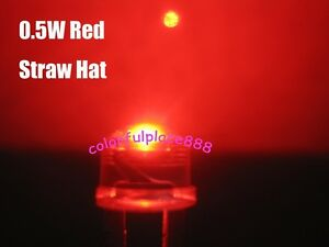 100pcs, 8mm 0.5W Red Straw Hat High-power LED Leds Light Lamp StrawHat  New