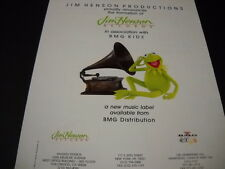 JIM HENSON Kermit The Frog listens to old Phonograph 1992 Promo Poster Ad mint