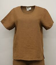 7e976cd09cc NEUTRAL FLAX LINEN TEE SHIRT SHORT SLEEVE PULLOVER TOP BROWN PETITE