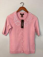 Victor Alfaro NEW Cardigan Pink Silk Cashmere Embellished Jewels Stones Sz Small