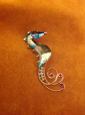 Vintage w/ Box Swarovski Swan Seleya Rhinestone Crystal Seahorse Pin Brooch