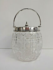 Antique Silver Plated Cut Glass Biscuit Barrel / Sweet Jar