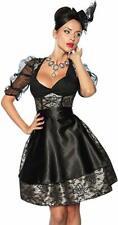 Dirndl 4-teilig Rock mit Schürze Corsage mit Schnürung Petticoat schwarz gold