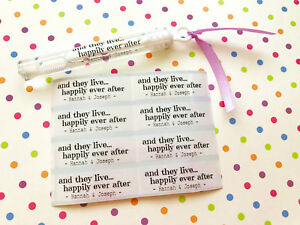 And they live happily ever after Custom Wedding Bubble Tube Labels, Wand Labels