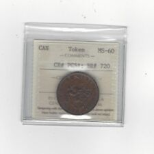 **Canada Token**PC-5A, Breton #720, ICCS Graded**MS-60** Half Penny Token