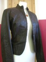 Ladies M&S AUTOGRAPH brown leather JACKET UK 14 12 cavalry embellished military