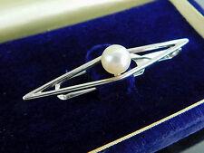 Authentic MIKIMOTO Sterling Silver & 7mm Genuine Pearl Tie Bar Clip Clasp + Case