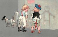 Carte fantaisie - Petits garçons et petit chien faisant pipi contre un mur