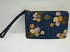 Coach Denim Floral Print Wristlet Clutch Wallet
