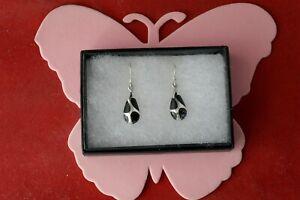 Nice 925 Silver Earrings With Onyx 4 Gr. 2.4 Cm. Long + Hooks In Gift Box