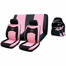 15PC Girly Pink RS Racing Car Seat Steering Wheel Covers 4pc Mat interior Set