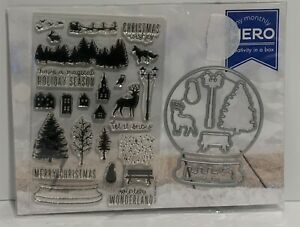 My Monthly Hero Arts Kit SNOWGLOBE October 2016 Christmas Rubber Stamps Dies