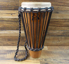 """DRUM BROTHERS ASHIKO WOOD BODY HAND DRUM 8"""" X 18"""" HANDMADE IN MT AUTOGRAPHED"""