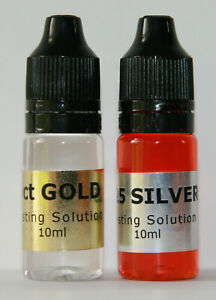 10ml 9ct Gold + 10ml 925 Silver Tester Spot On Testing Solution Kit Fluid