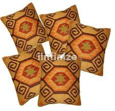 "18"" 5 PC Lot Wool Jute Gold Cushion Cover Gorgeous Kilim Pillows Hippie Bohemian"