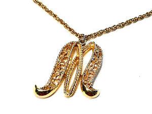 Bijou alliage doré collier créateur Lettre M  Mamselle necklace
