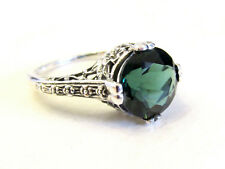 Art Deco Emerald Sterling Silver Ring Floral Filigree Antique Vintage Style Sz 7